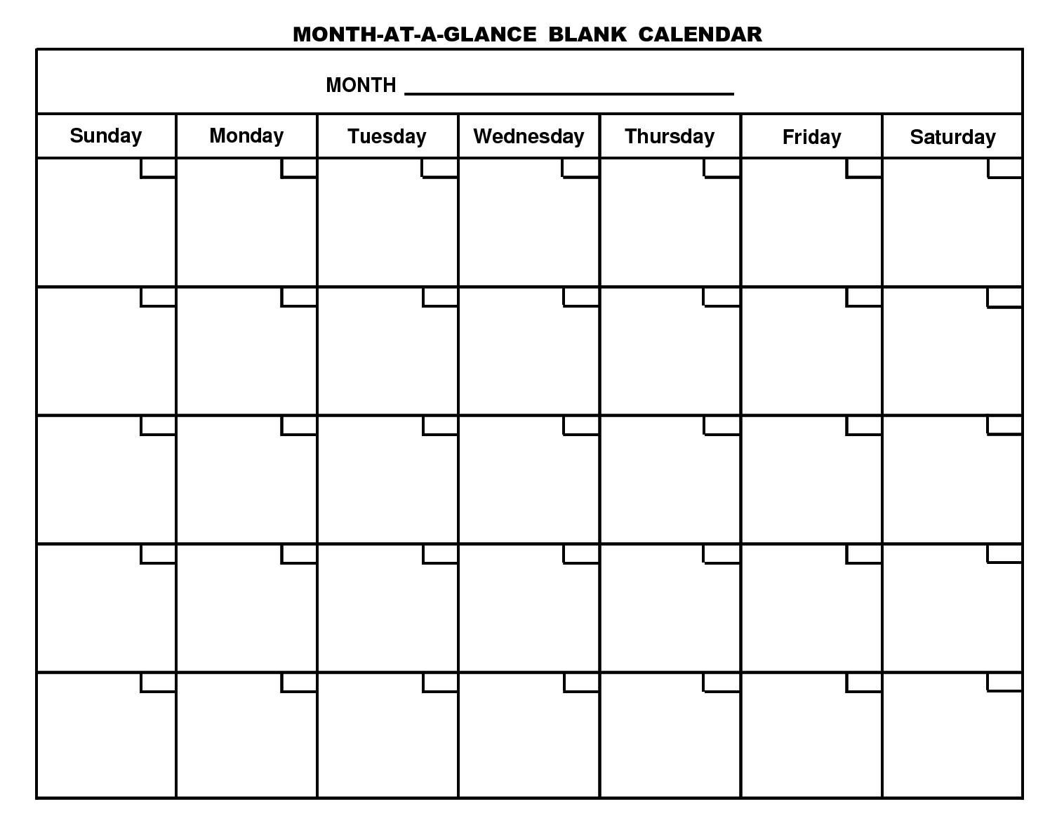Month At A Glance Blank Calendar Template - Atlantaauctionco Regarding Month At A Glance Blank Calendar Template