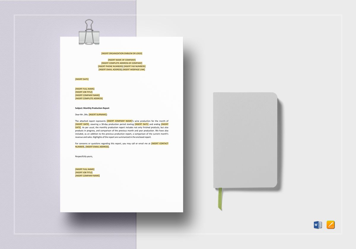 Monthly Production Report Template In Monthly Productivity Report Template