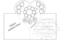 Mothers Day Card With Heart Pop-Up Template – Coloring Page throughout Mothers Day Card Templates