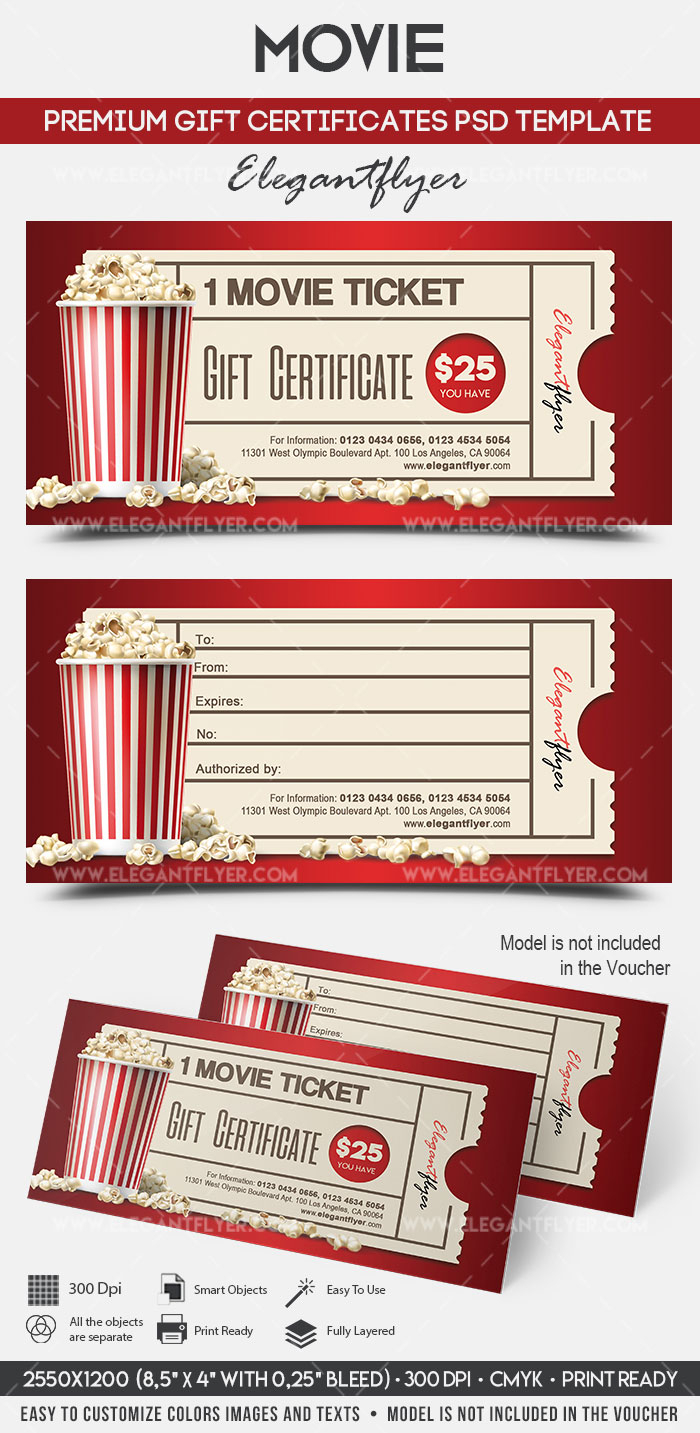 Movie Gift Certificate Psd Printable Regarding Movie Gift Certificate Template
