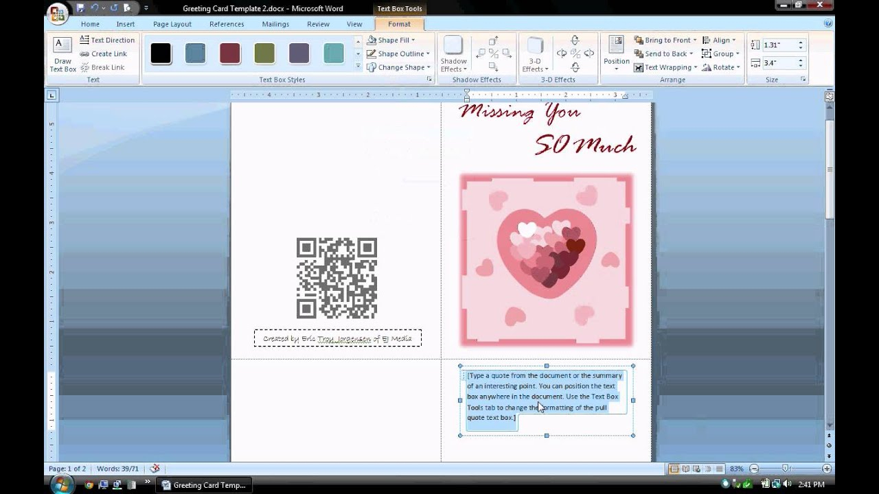 Ms Word Tutorial (Part 1) - Greeting Card Template, Inserting And  Formatting Text, Rotating Text Inside Microsoft Word Birthday Card Template