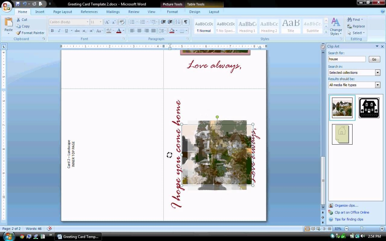 Ms Word Tutorial (Part 2) - Greeting Card Template For Birthday Card Template Microsoft Word