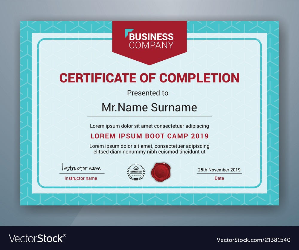 Multipurpose Professional Certificate Template Vector Image On Vectorstock For Boot Camp Certificate Template