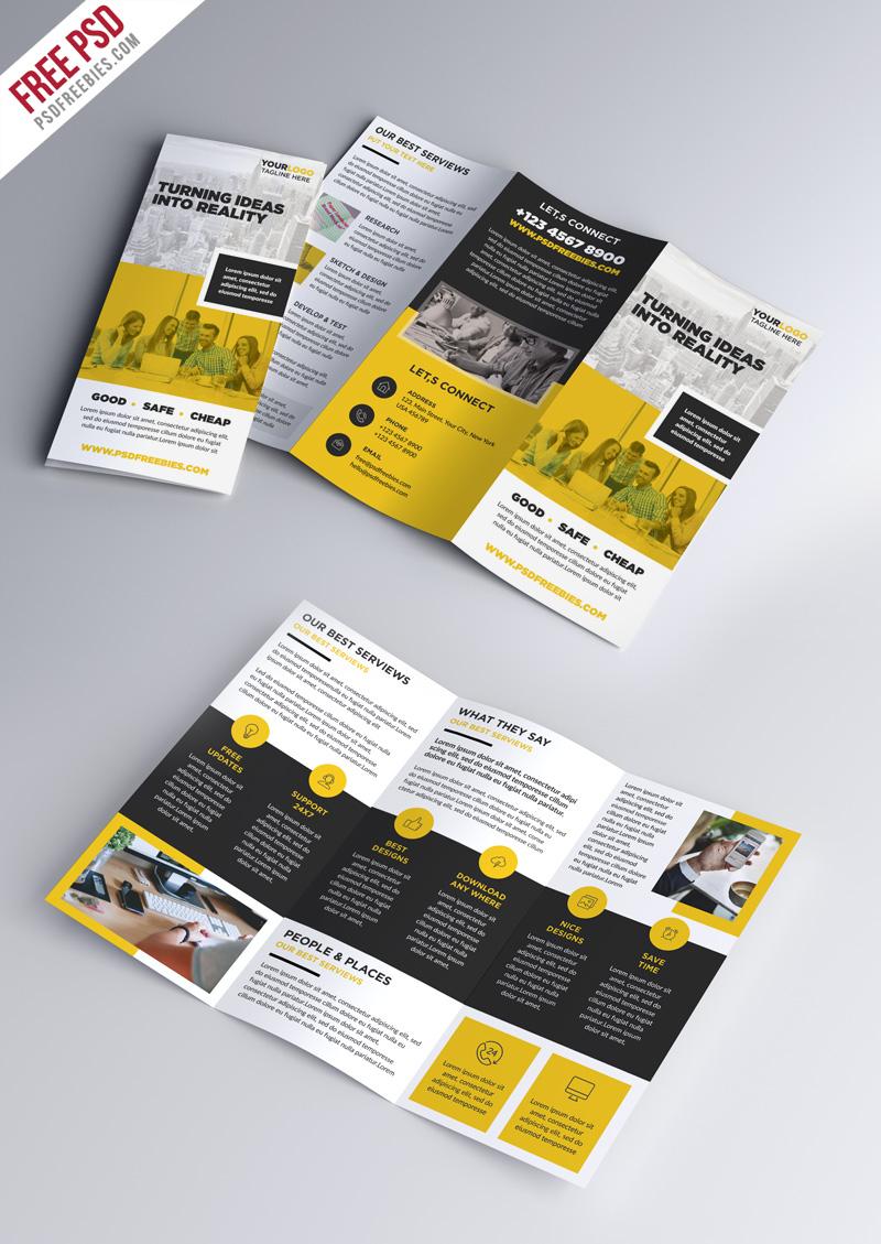 Multipurpose Tri Fold Brochure Psd Template   Psdfreebies With Brochure 3 Fold Template Psd