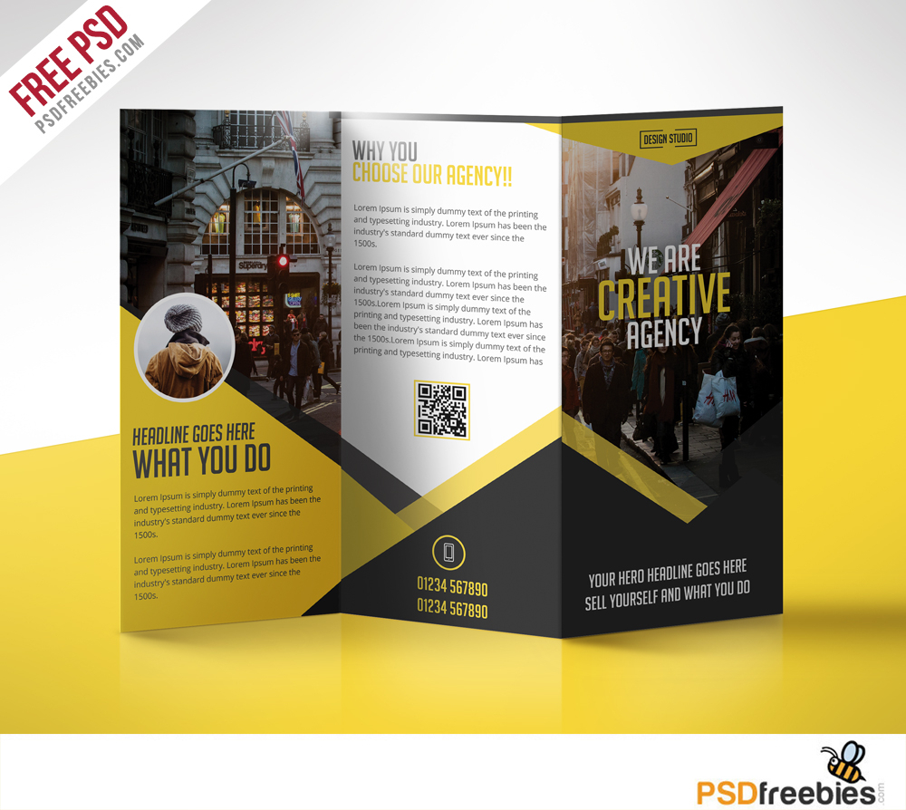 Multipurpose Trifold Business Brochure Free Psd Template With 3 Fold Brochure Template Free