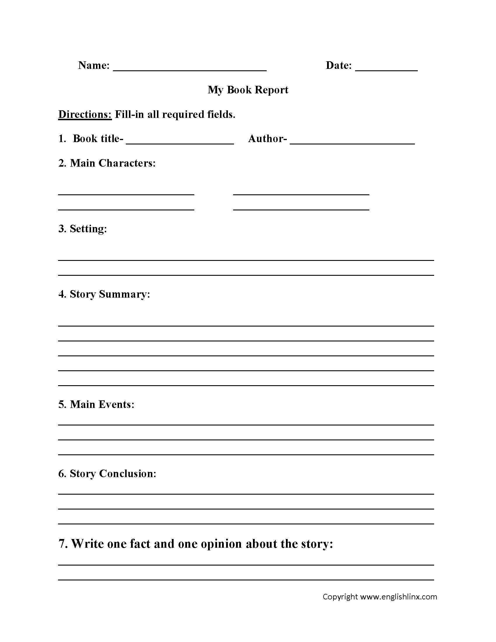 My Book Report Worksheet | Book Report Templates, Book Throughout Story Report Template