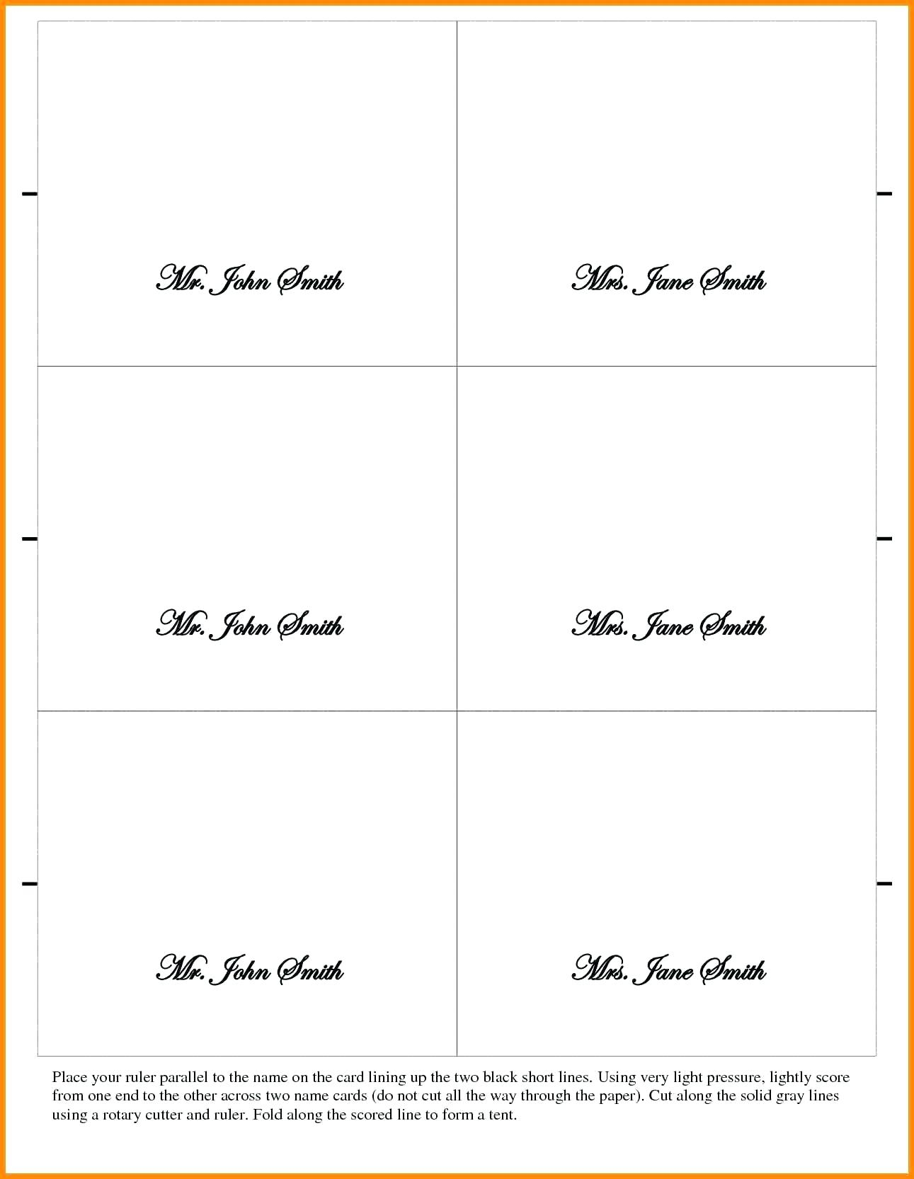 Name Tent Template – Wepage.co Inside Fold Over Place Card Template