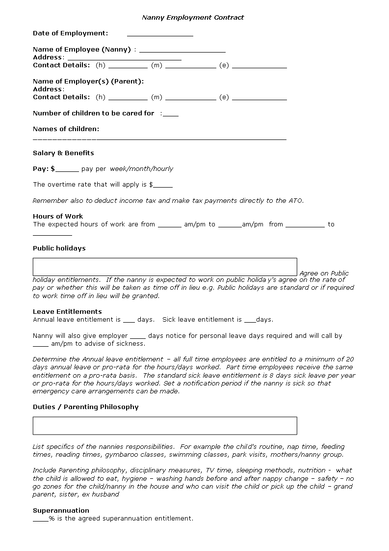 Nanny Contract Template - Nanny Agreement Template | Nanny Regarding Nanny Contract Template Word