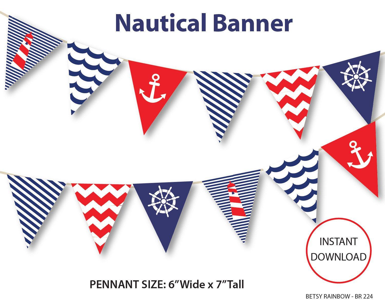 Nautical Banner, Printable Banner, Nautical, Diy Party, Navy Inside Nautical Banner Template
