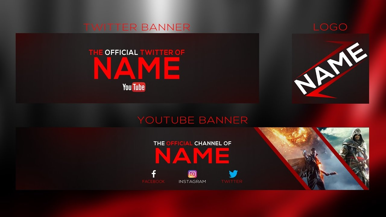 New 2017 Banner Template | Youtube Banner + Twitter Banner And Logo Psd |  With Free Download In Twitter Banner Template Psd