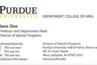 New Business Card Template Now Online – Purdue University News with Graduate Student Business Cards Template