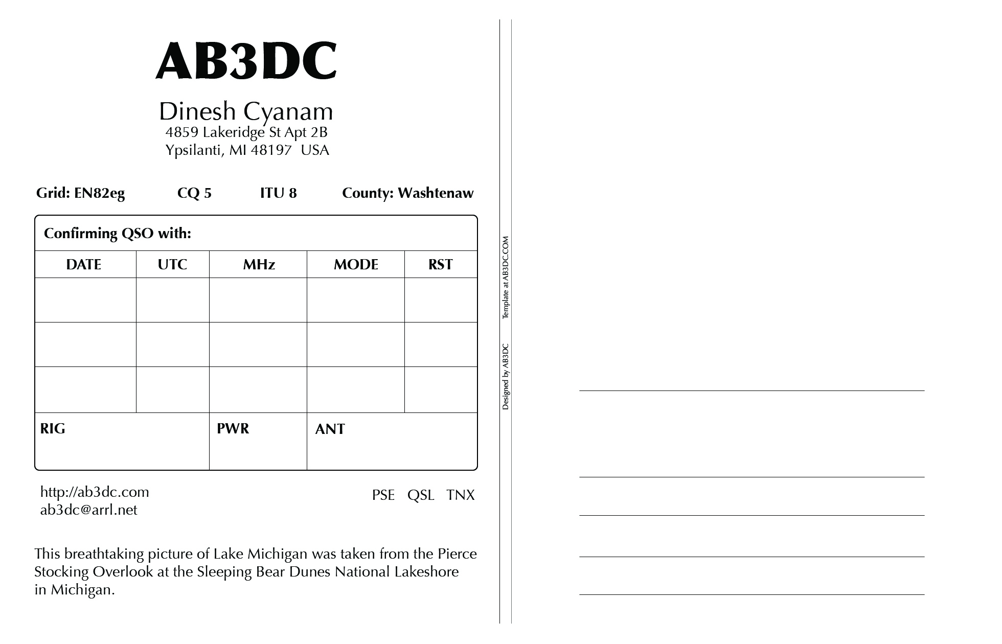 New Qsl Cards Design – Ab3Dc's Ham Radio Blog Regarding Qsl Card Template
