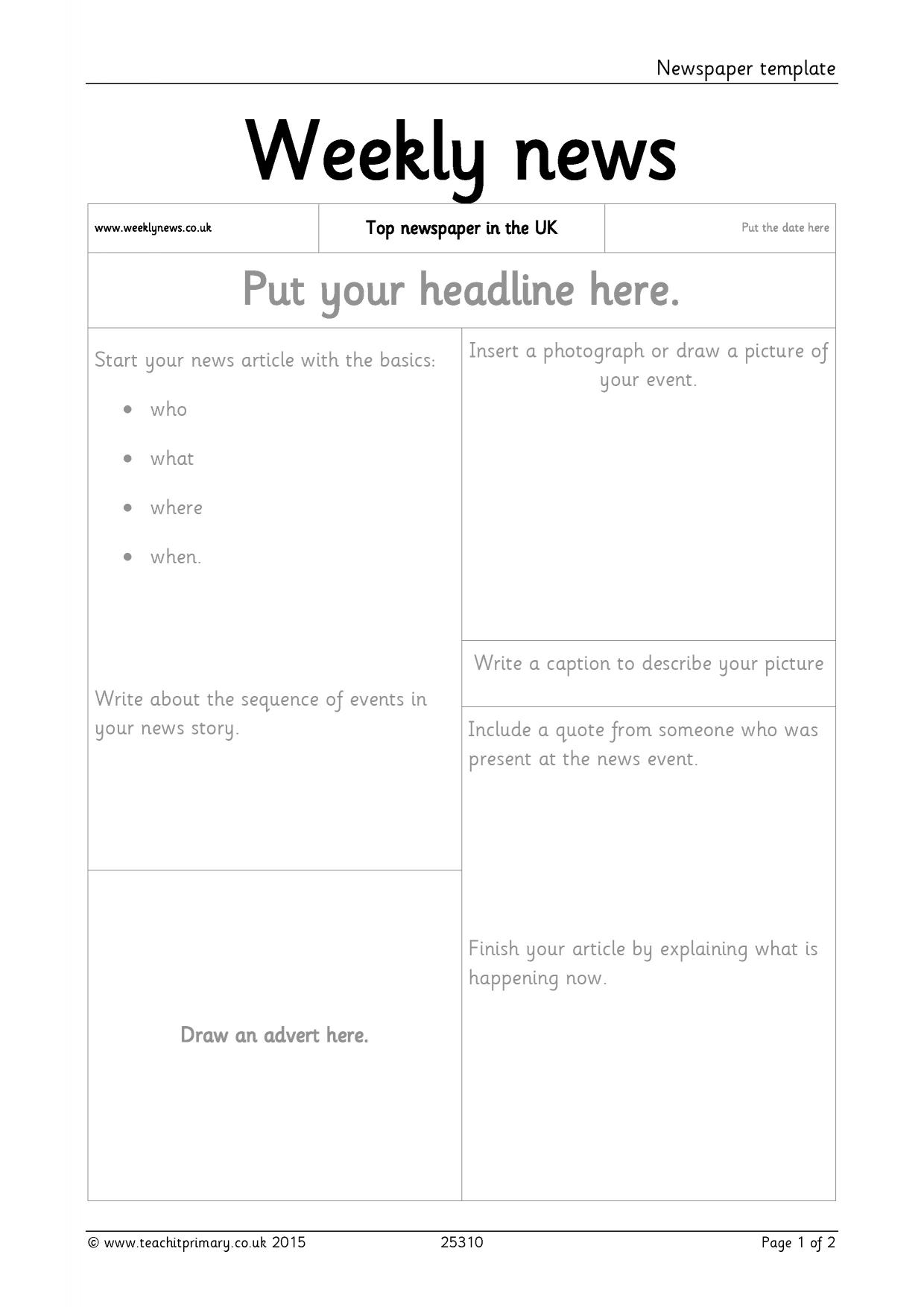 Newspaper Template Within Report Writing Template Ks1