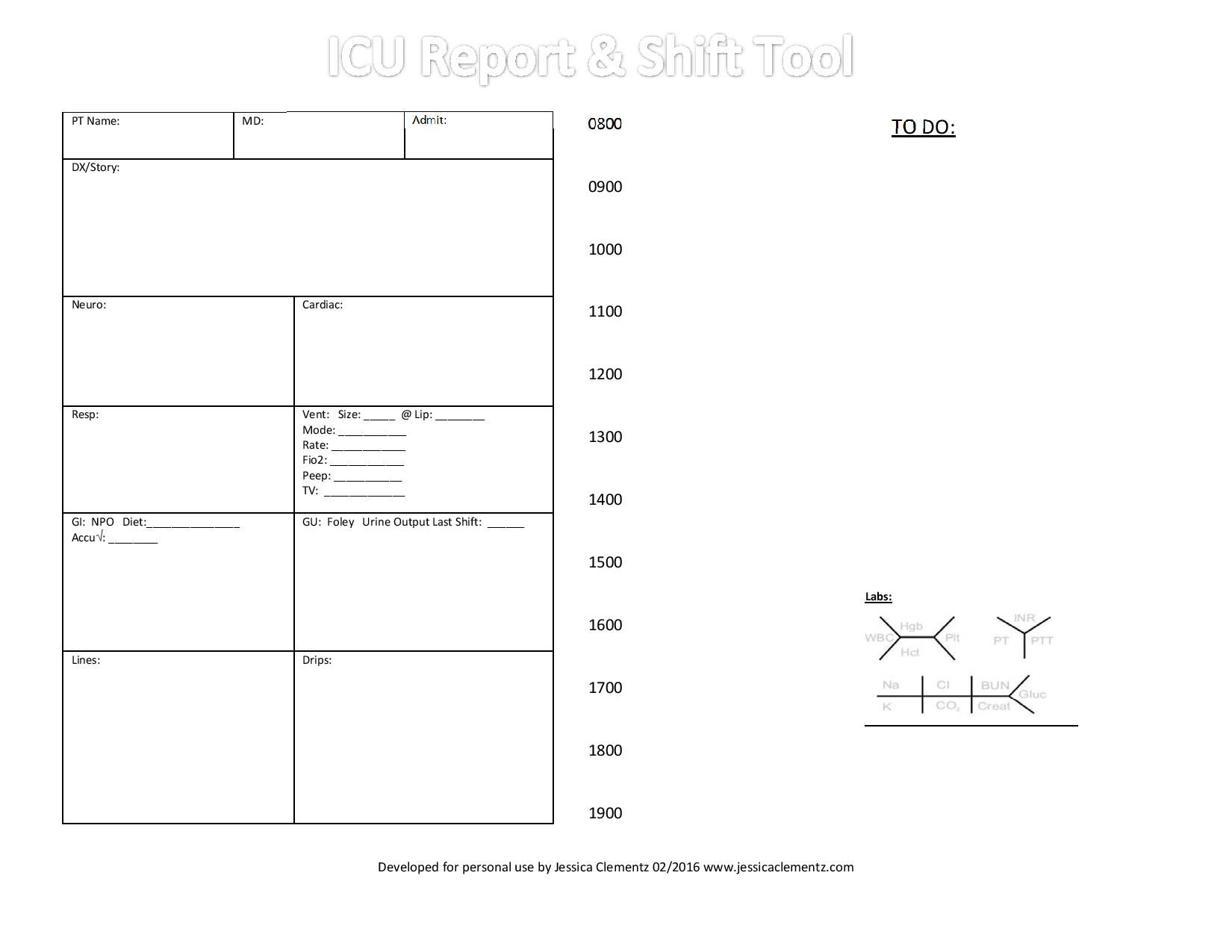 Nurse Brain Sheet – Icu Report And Shift Tool | Nursing Intended For Icu Report Template