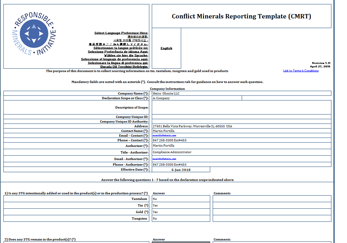 Ohmite - Conflict Minerals Reporting Template (Cmrt) - Rell Throughout Conflict Minerals Reporting Template