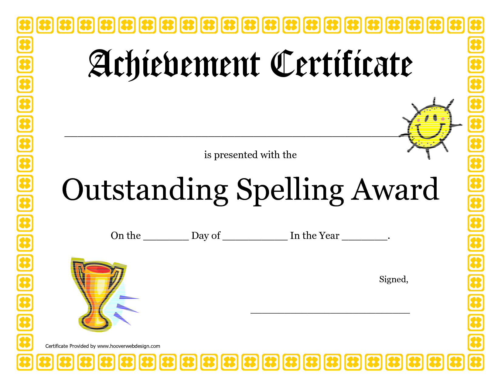 Outstanding Spelling Award Printable Certificate Pdf Picture With Regard To Spelling Bee Award Certificate Template