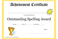 Outstanding Spelling Award Printable Certificate Pdf Picture within Rugby League Certificate Templates