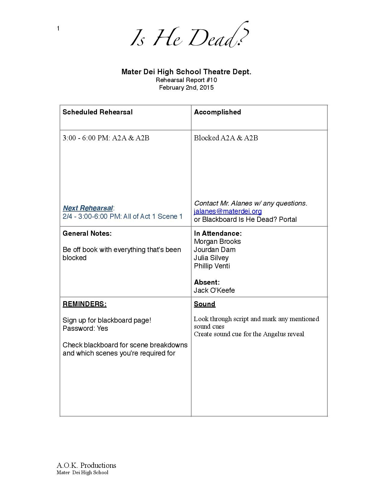 Page 1 Of Is He Dead? Rehearsal Report Example | Stage With Rehearsal Report Template