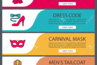 Party Accessories Web Banner Templates Set. Evening Gown, Carnival.. for Tie Banner Template