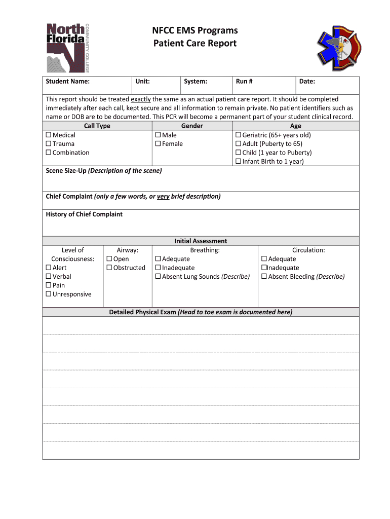 Patient Care Reports - Fill Online, Printable, Fillable Intended For Patient Care Report Template