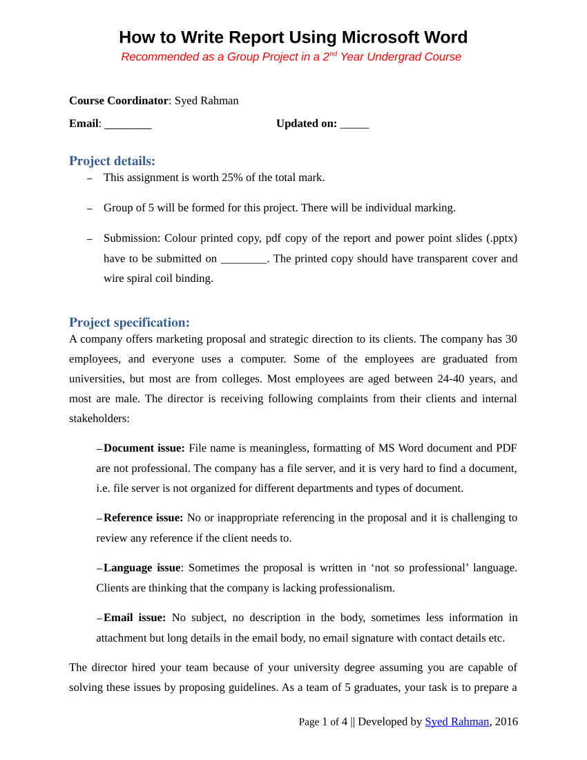 Pdf) How To Write A Report - Assignment Template With Assignment Report Template