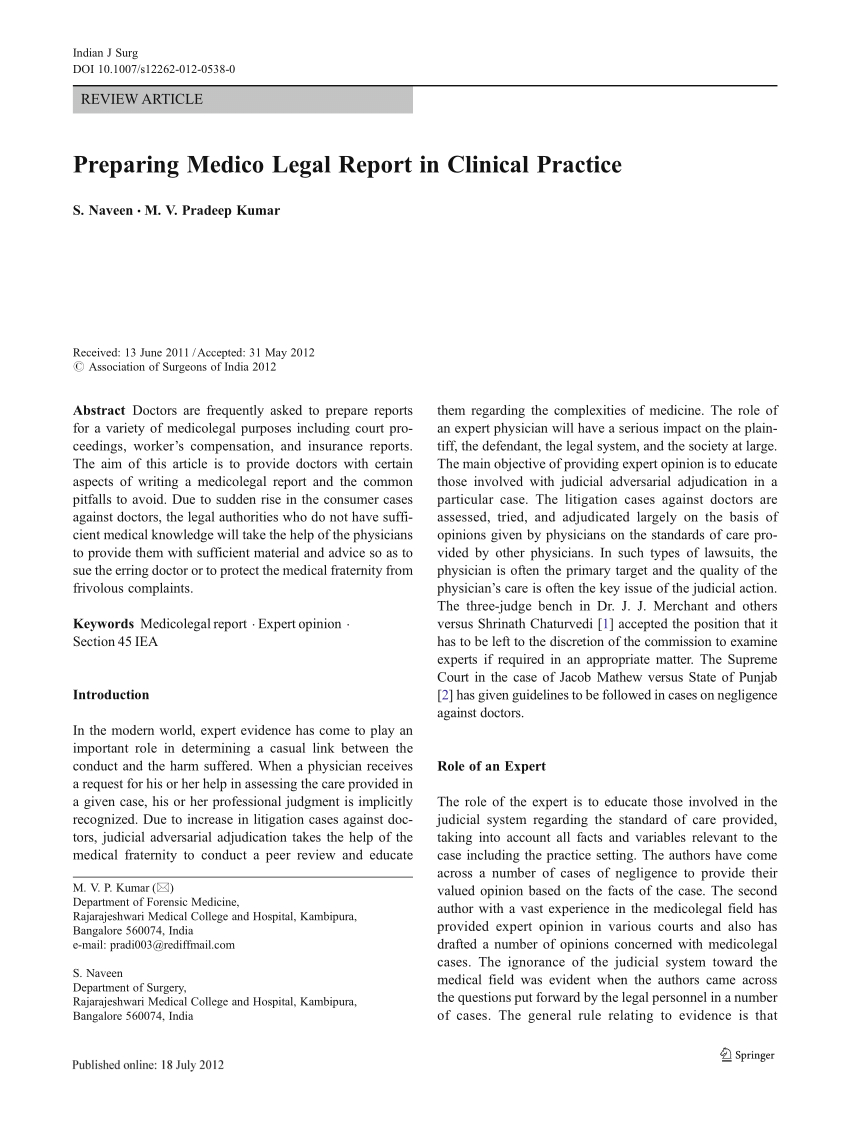 Pdf) Preparing Medico Legal Report In Clinical Practice In Medical Legal Report Template