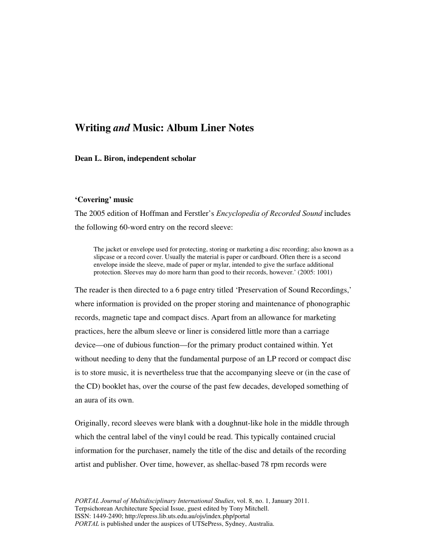 Pdf) Writing And Music: Album Liner Notes For Cd Liner Notes Template Word