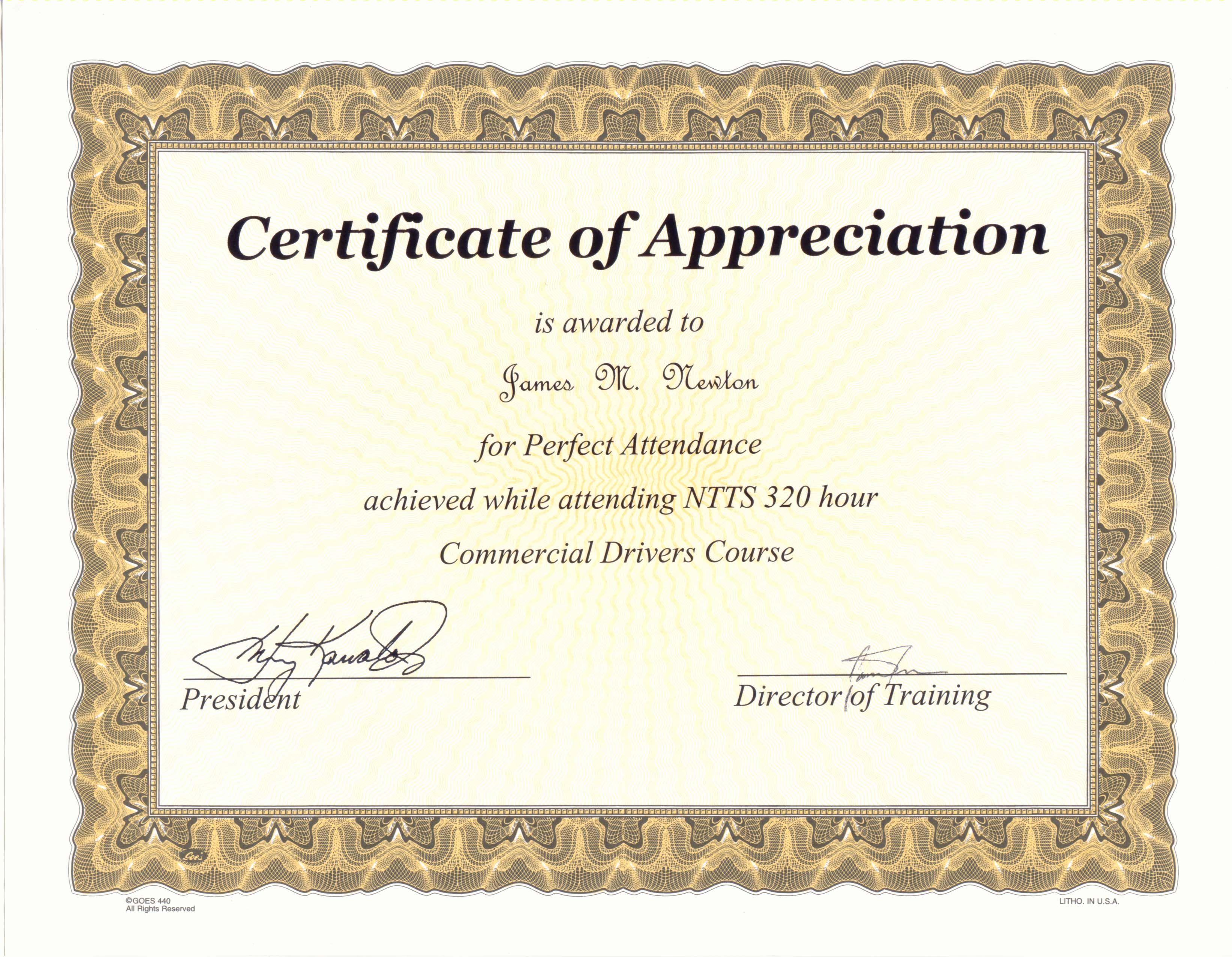 Perfect Attendance Award Certificate Template …   Award With Perfect Attendance Certificate Template
