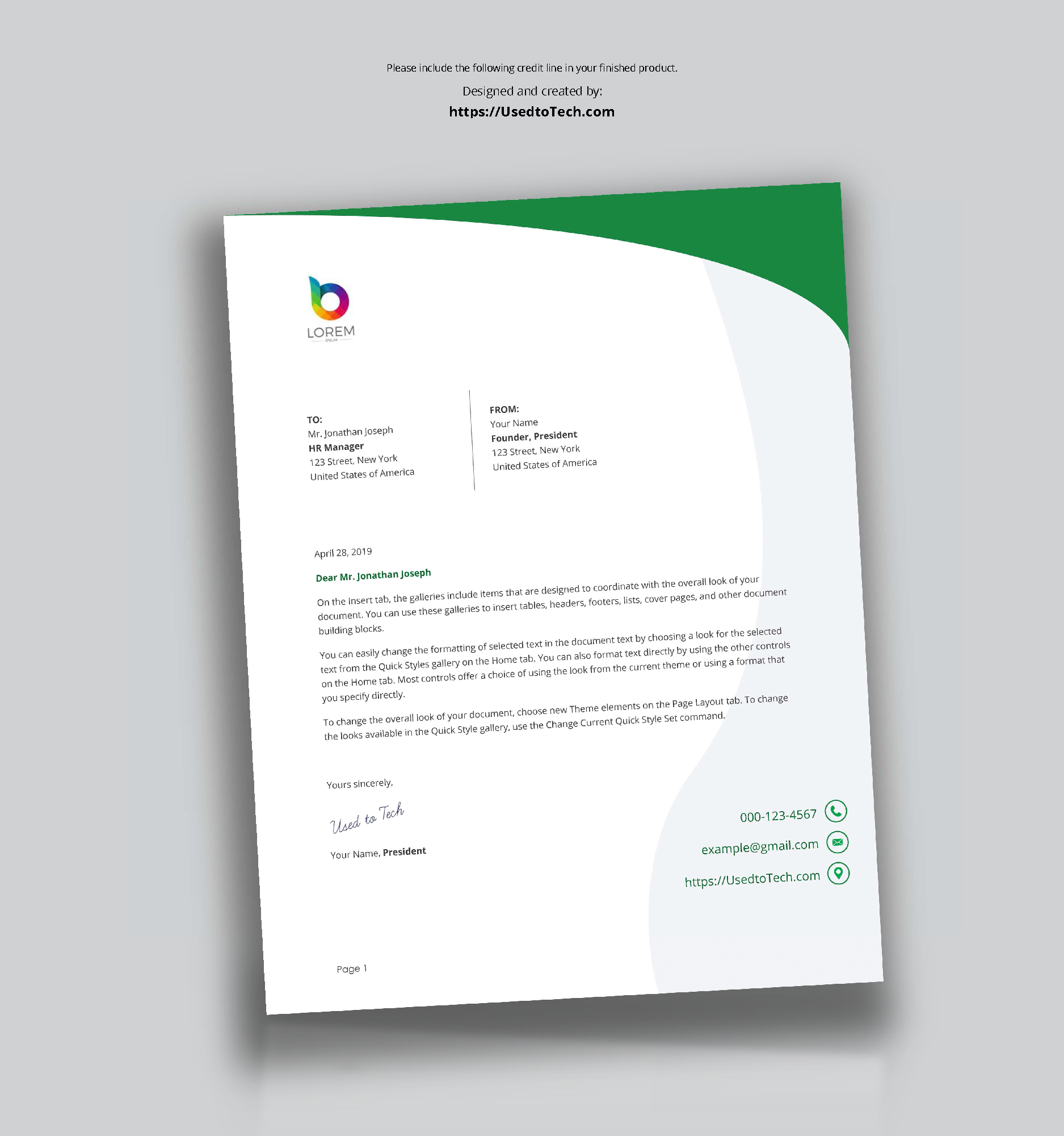 Perfect Letterhead Design In Word Free – Used To Tech With Free Letterhead Templates For Microsoft Word
