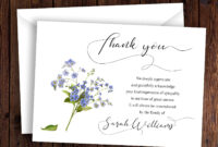 Personalized Funeral Thank You Card Sympathy Thank You Card for Sympathy Thank You Card Template