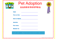Pet Adoption Certificate For The Kids To Fill Out About inside Pet Adoption Certificate Template