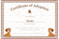 Pet Adoption Certificate Template in Pet Adoption Certificate Template