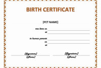 Pet Birth Certificate Maker | Pet Birth Certificate For Word pertaining to Adoption Certificate Template