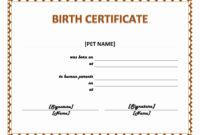 Pet Birth Certificate Maker   Pet Birth Certificate For Word with Birth Certificate Fake Template