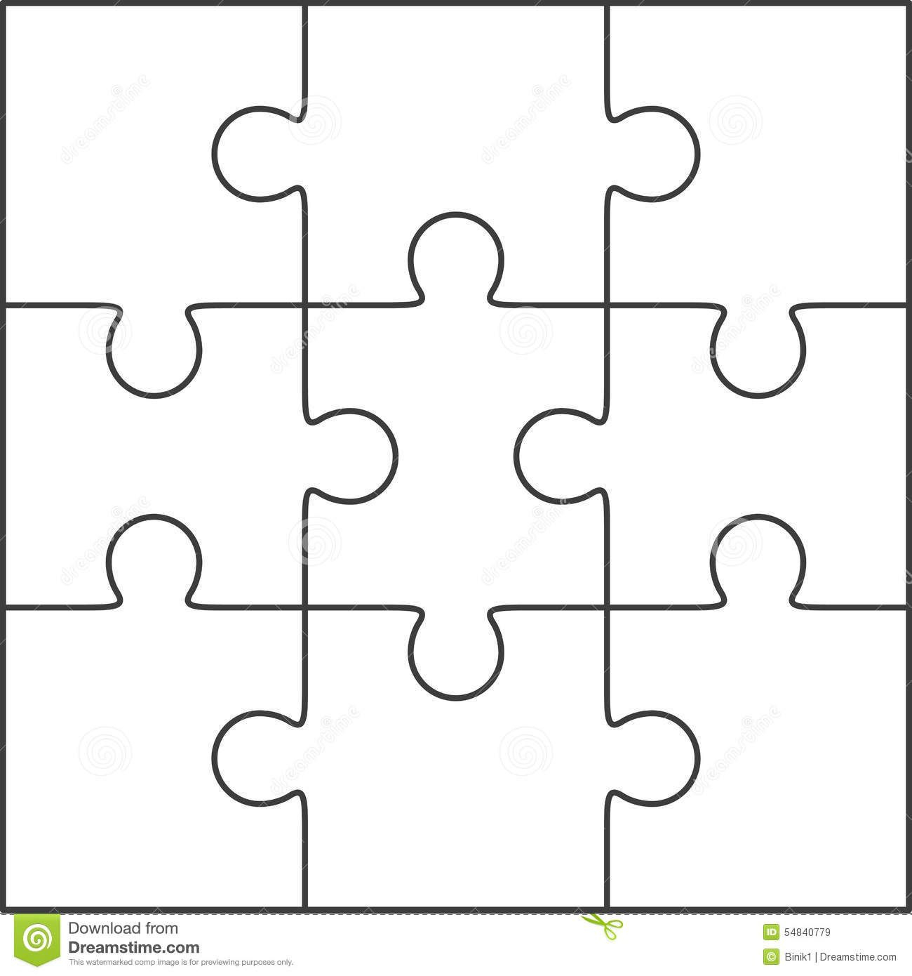 Photo About Jigsaw Puzzle , Blank Simple Template 3X3 With Regard To Blank Jigsaw Piece Template