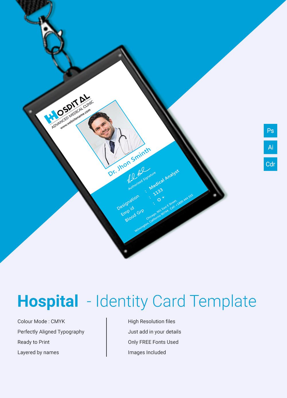 Pin On 工作证 Pertaining To Template For Id Card Free Download