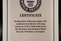 Pinbrad Byers On Brad Byers World Record Certificates throughout Guinness World Record Certificate Template