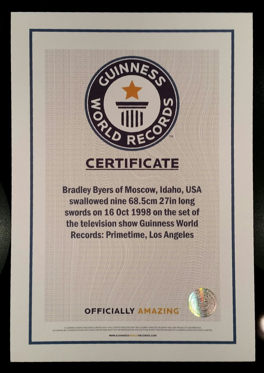 Pinbrad Byers On Brad Byers World Record Certificates Throughout Guinness World Record Certificate Template