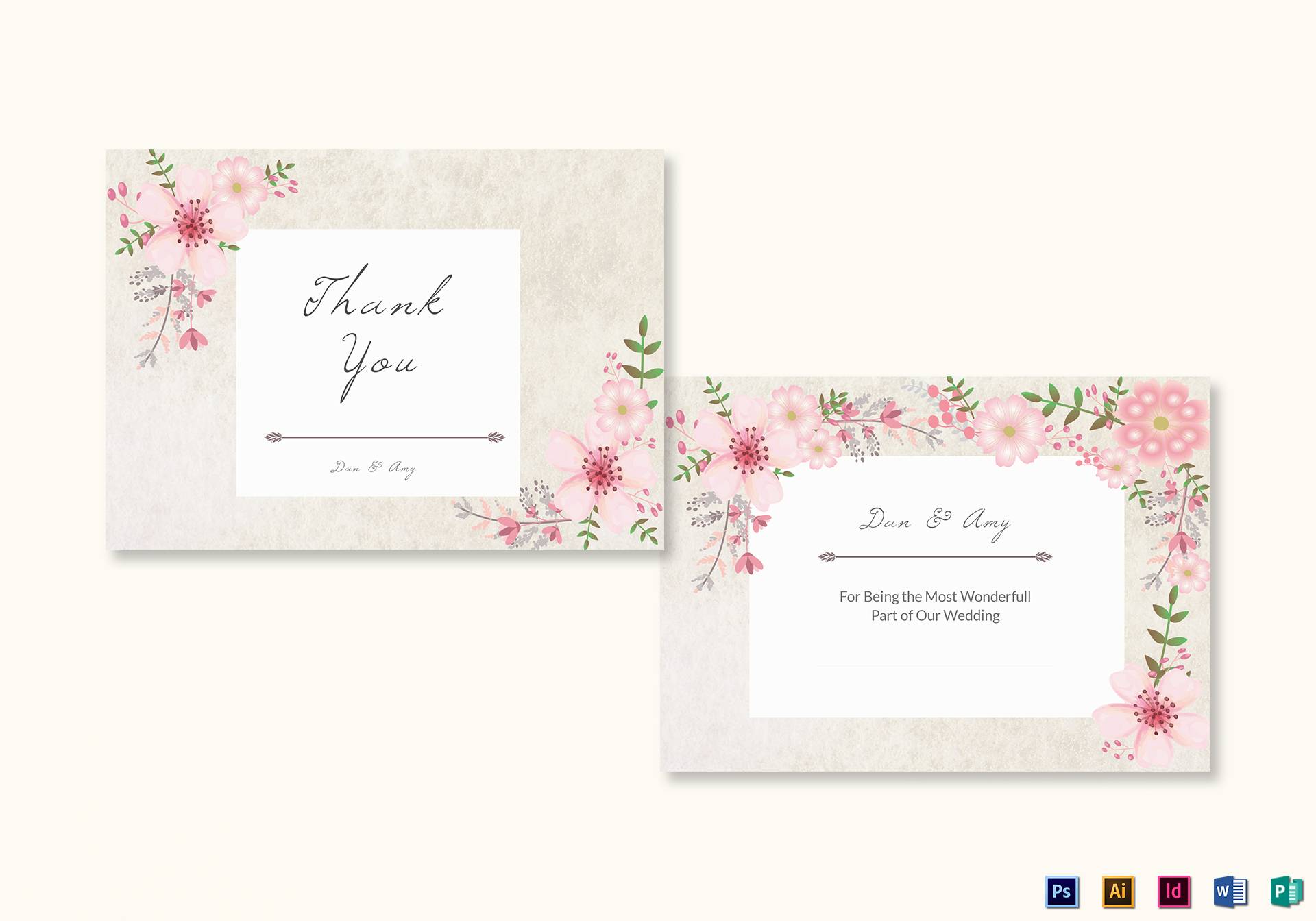 Pink Floral Thank You Card Template Inside Thank You Card Template Word
