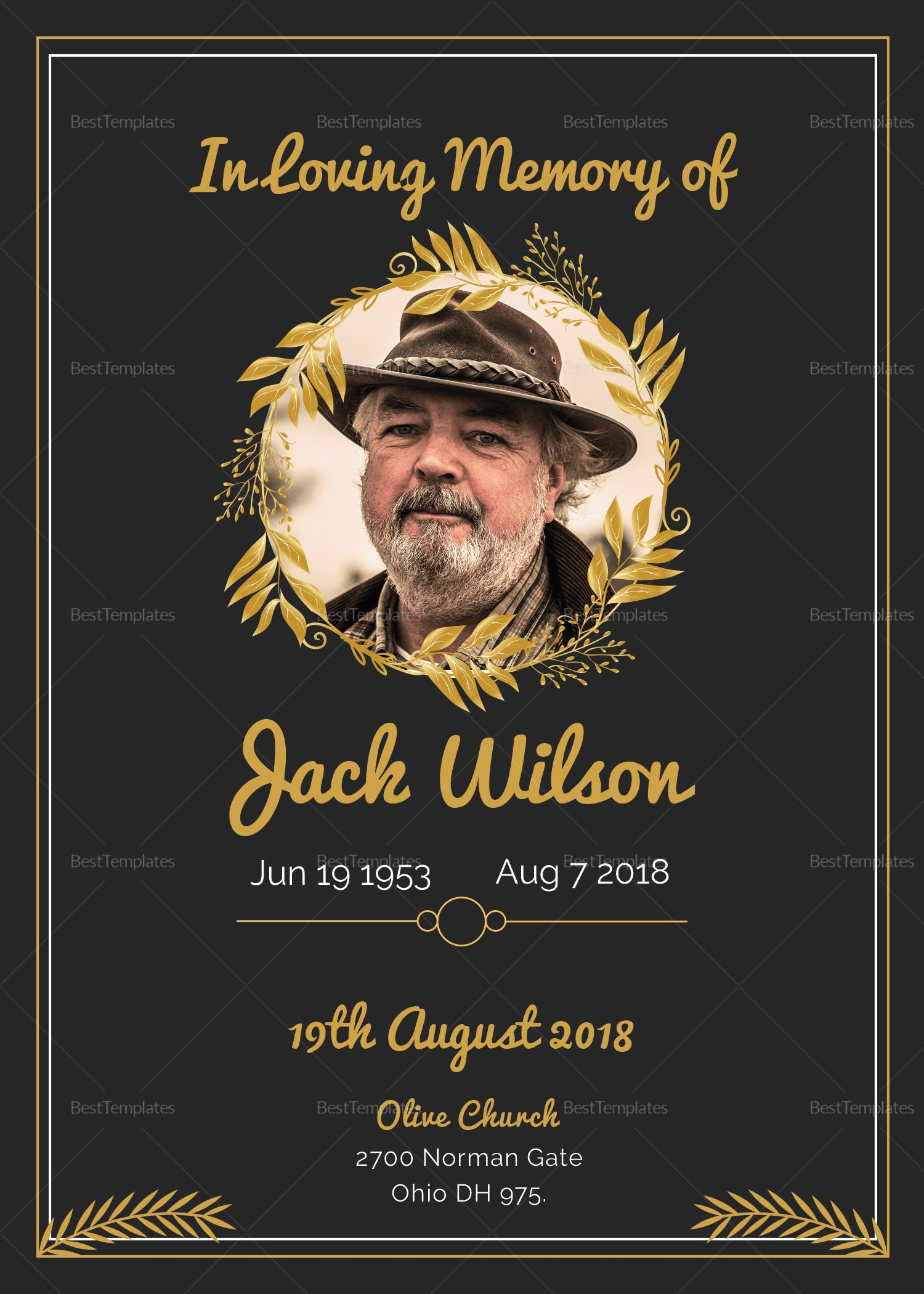 Pino Free Jay On Celebration Of Life   Funeral In Funeral Invitation Card Template
