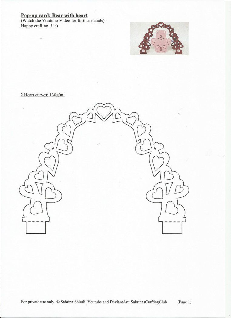 Pop Up Card Bear: Page 1Sabrinascraftingclub On Within Pop Up Card Templates Free Printable