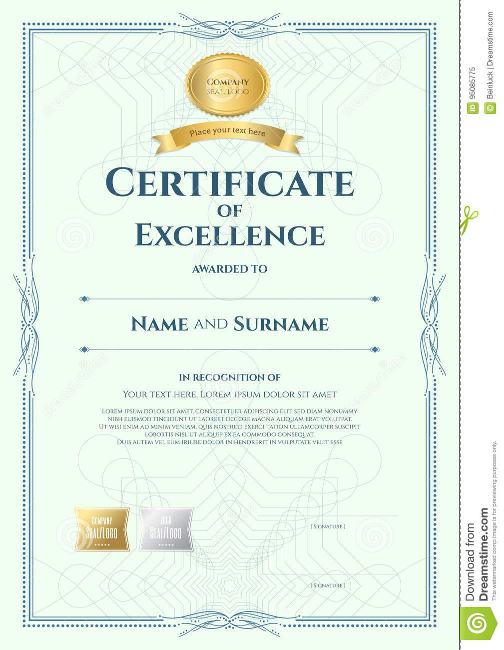 Portrait Certificate Of Excellence Template With Award Inside Award Of Excellence Certificate Template