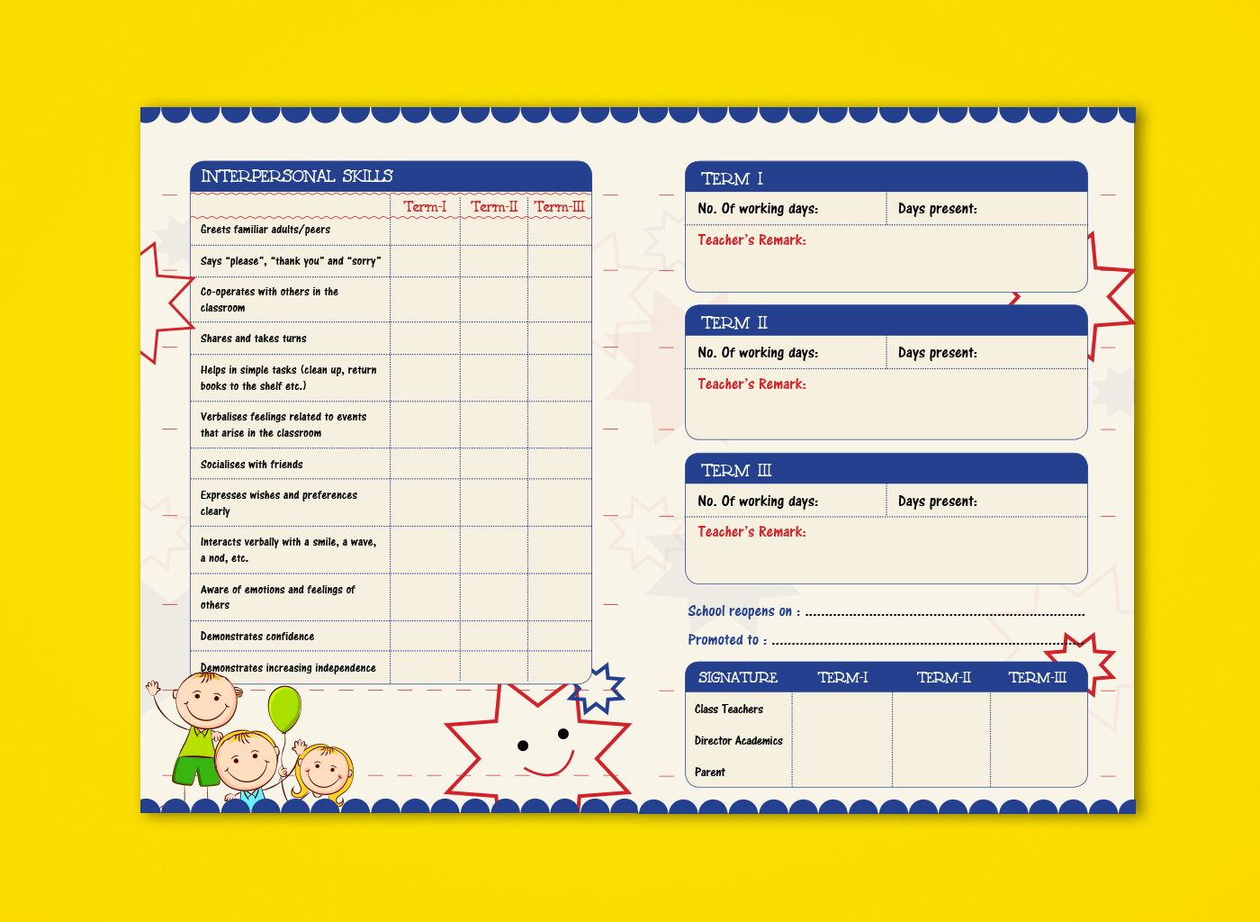 Pre Nursery Report Card On Behance | Report Card Ideas Regarding Boyfriend Report Card Template