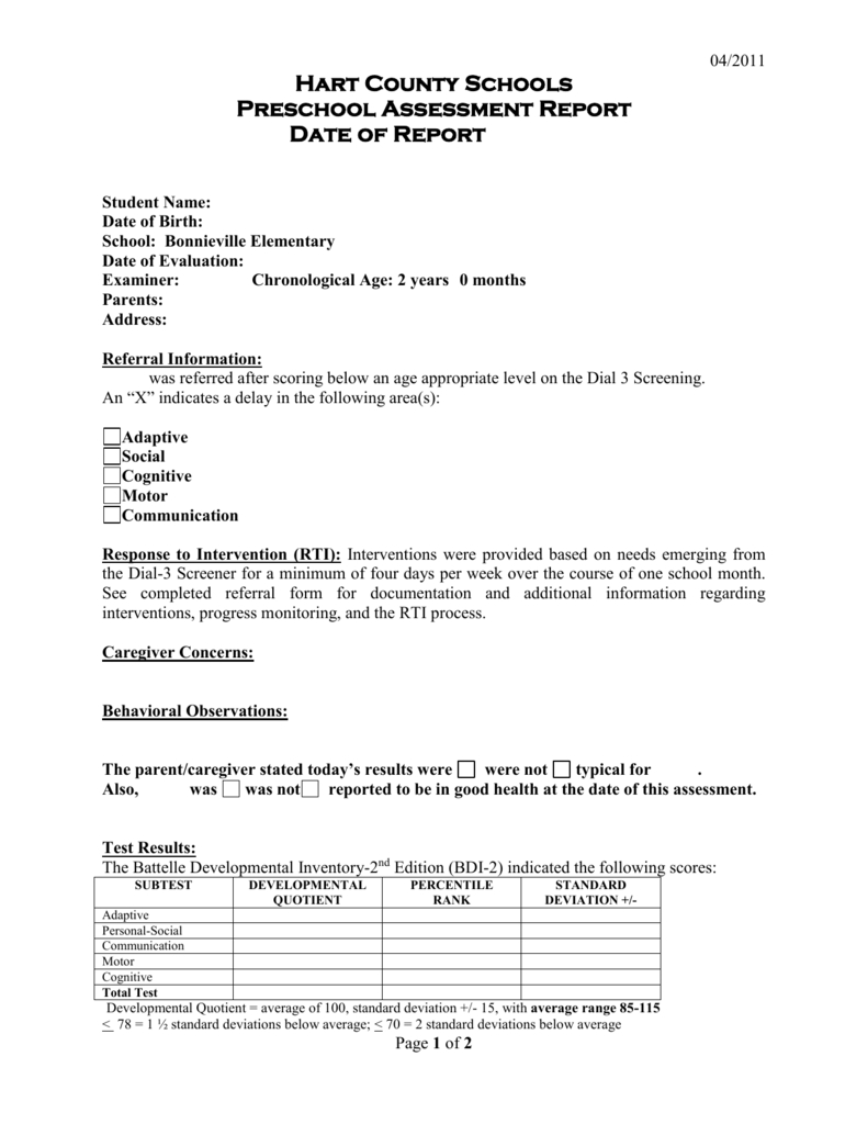 Preschool Evaluation Report Template Within Template For Evaluation Report