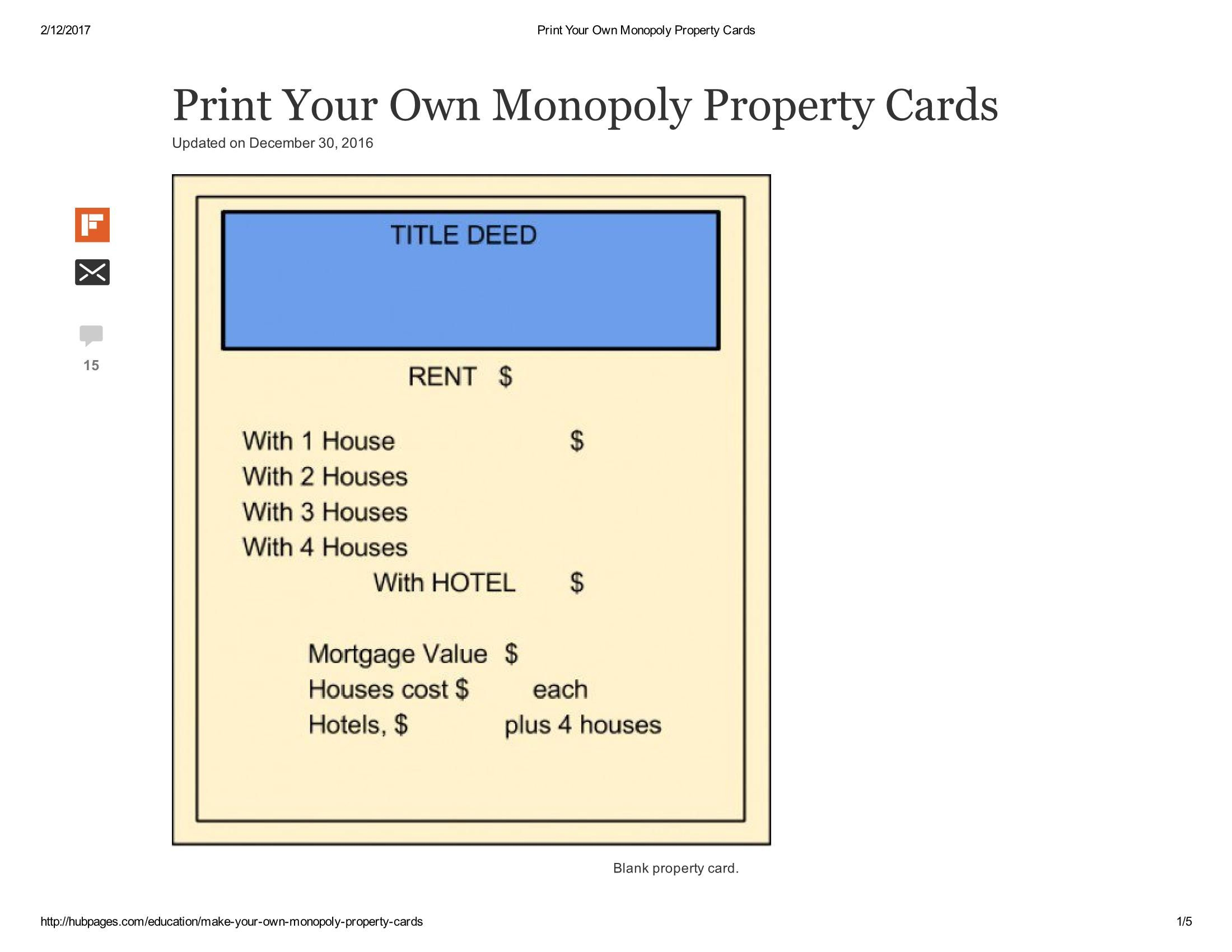 Print Your Own Monopoly Property Cards Document With Monopoly Property Card Template