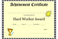 Printable Achievement Certificates Kids   Hard Worker for Free Student Certificate Templates