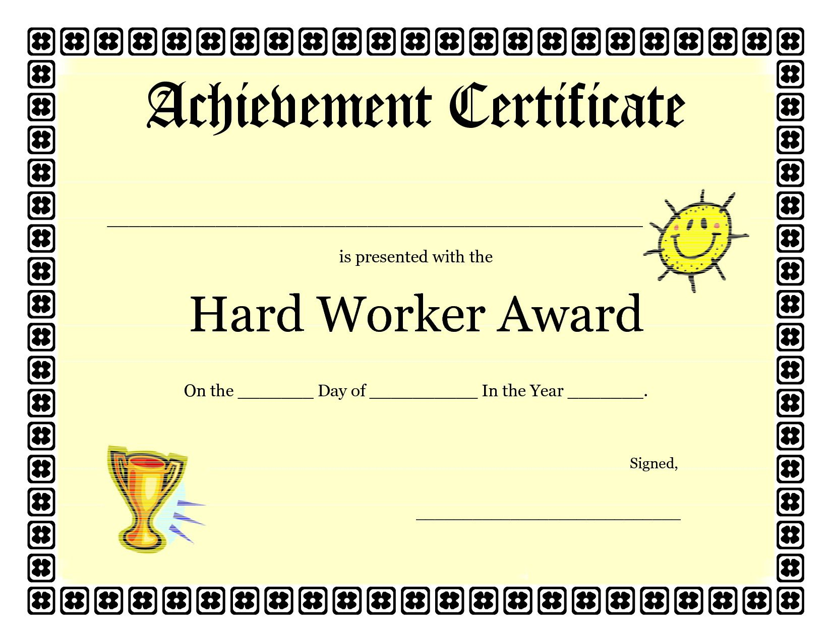 Printable Achievement Certificates Kids   Hard Worker For Student Of The Year Award Certificate Templates