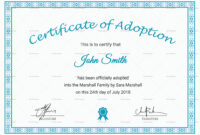 Printable Adoption Certificate Template with regard to Adoption Certificate Template