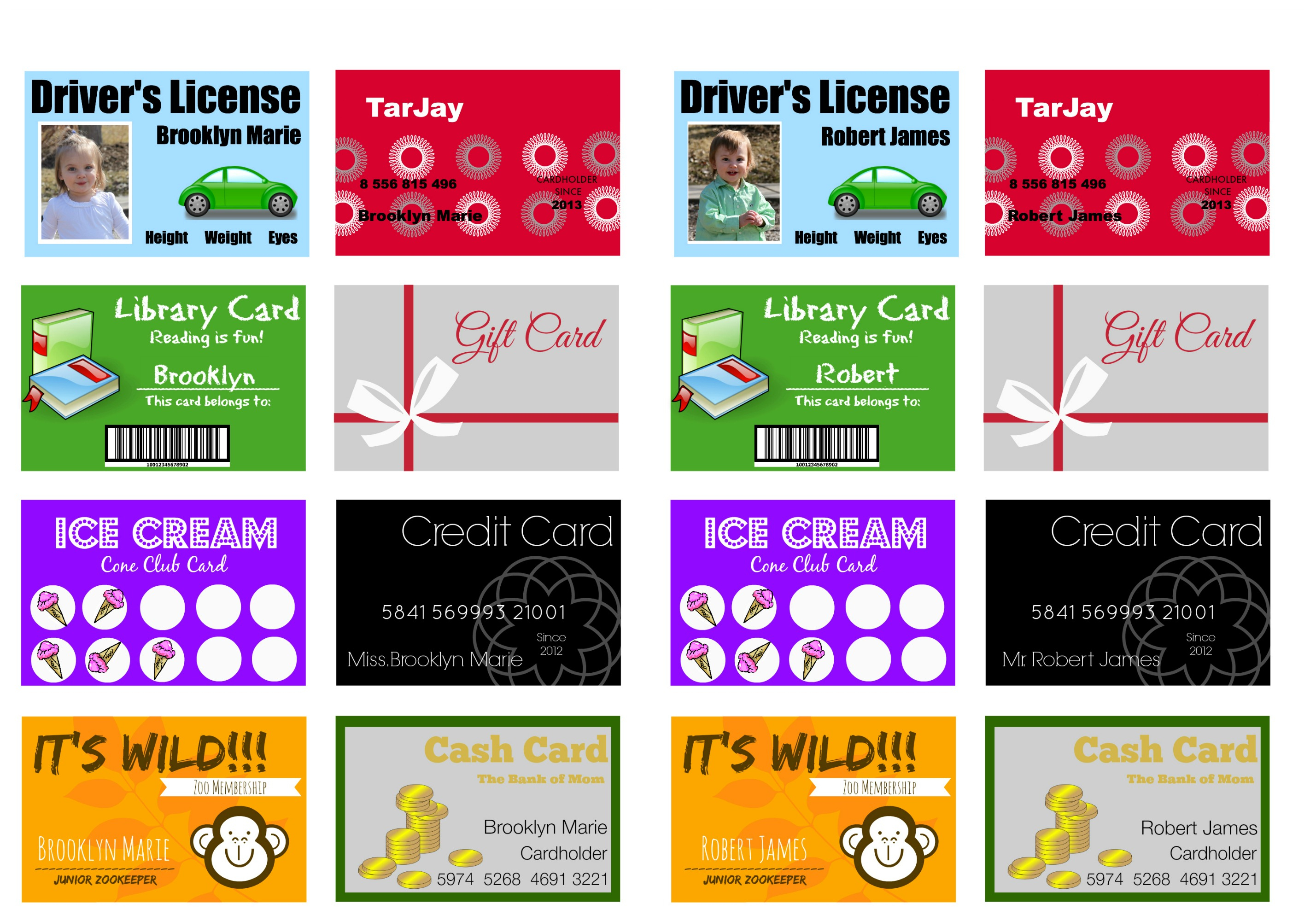 Printable (And Customizable) Play Credit Cards - The Crazy Regarding Credit Card Template For Kids