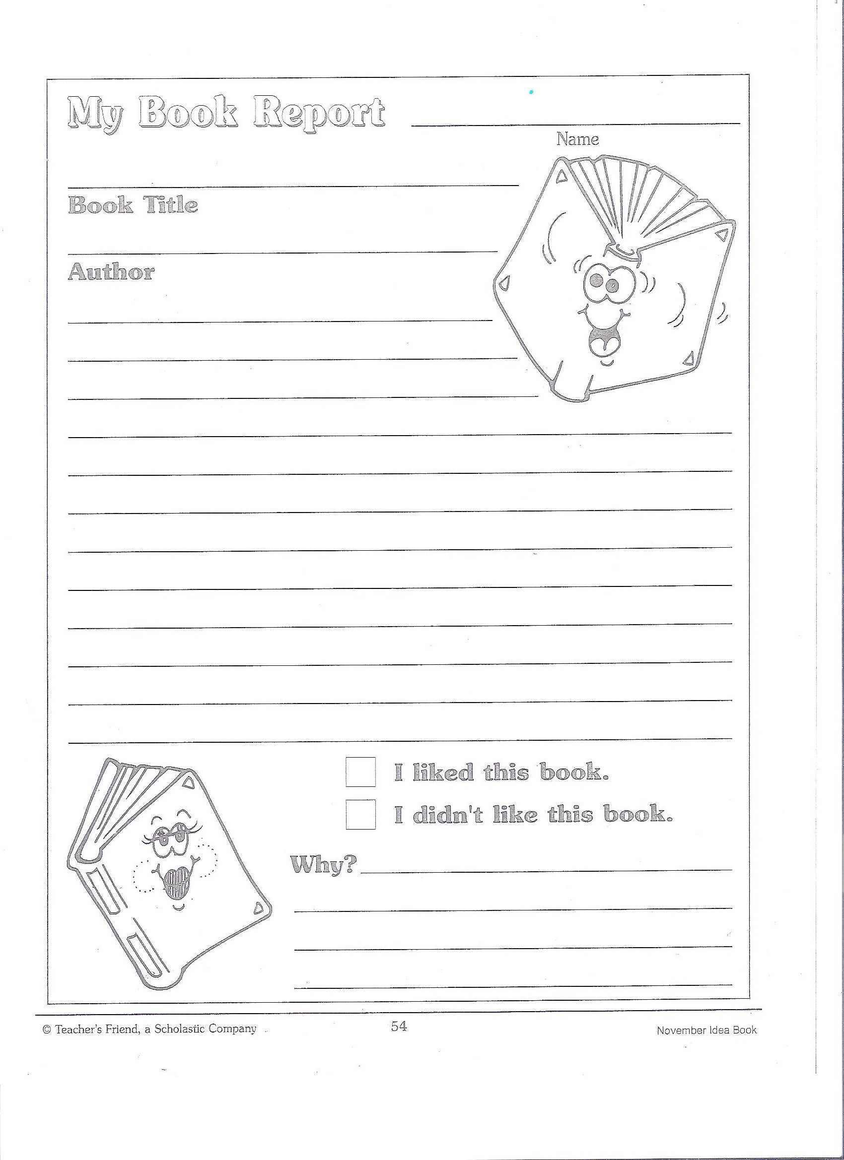 Printable Book Report Forms | Miss Murphy's 1St And 2Nd Pertaining To 1St Grade Book Report Template